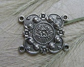 SALE  - 2 Medieval Ornament Connector Antique Silver Ox Brass Jewelry Findings (F)