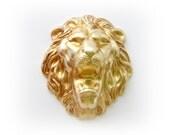 BRASS LION Roaring Head Brass Stampings - Jewelry Ornament Findings (CA-3024) #