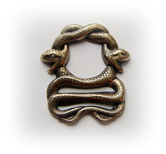 1 - Large Double Egyptian SNAKES Antique Brass Ox Finish - Jewelry Findings (F)