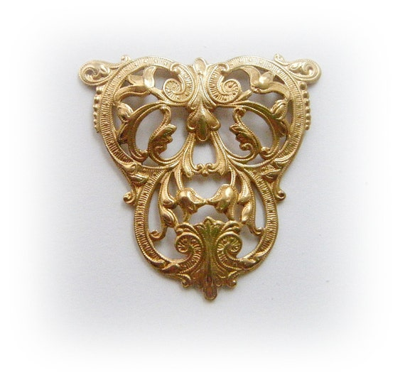1 - Victorian Floral Tulip Filigree CREST Brass Stamping - Jewelry Findings (FA)