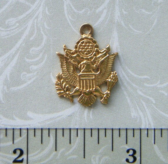 6 Pc Brass US Army Military Charms and Findings