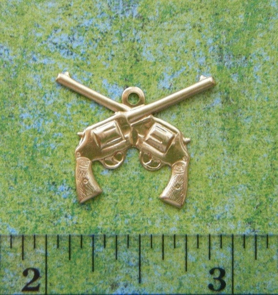 12 Pc Brass Pistol Guns Charms and Findings