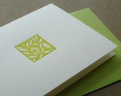 Tiny Leaves Letterpress Card - Chartreuse