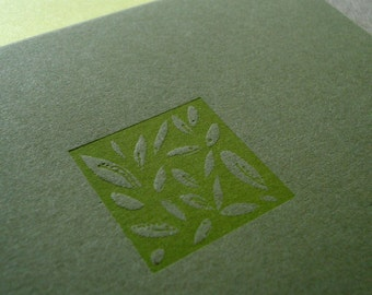 Tiny Leaves Letterpress Card (olive), note card, blank card, botanical card, minimalist card