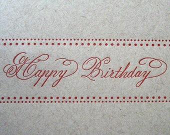 Flourished Happy Birthday Letterpress Card