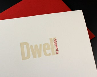 Dwell In Possibility- Letterpress Card, note card, blank card