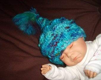 Unique baby Hat. Colourful,fun,soft and warm. Up to 6mths. O.O.A.K.