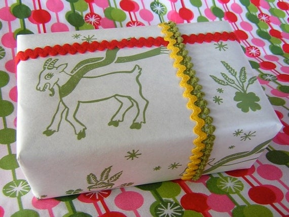 Good Luck Yule Goat Screen Printed Wrapping Paper