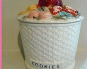 BASKET WEAVE FRUIT LID COOKIE JAR MARKED 53\/393