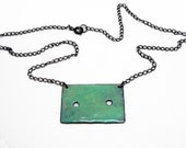Aqua Box Enamel Necklace