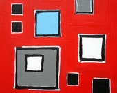 Bold Squares on Red- Original Painting