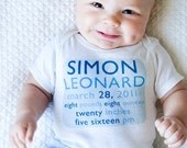 Birth-tees MODERN BOY birth announcement Onesie