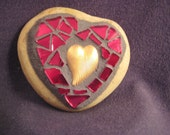 Heart of Gold---Mosaic Stained Glass Stone Heart