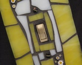 Mosiac Stained Glass Light Switch Plate Cover-Yellow and White