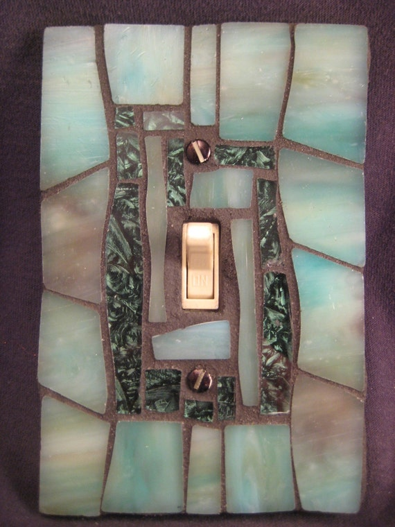 Toggle Switch Cover >> Turquoise Green Stained Glass Mosaic Switch Plate Cover