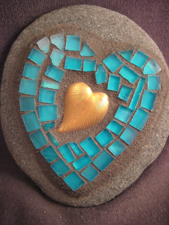 Stained Glass Mosaic-Turquoise Stone Heart