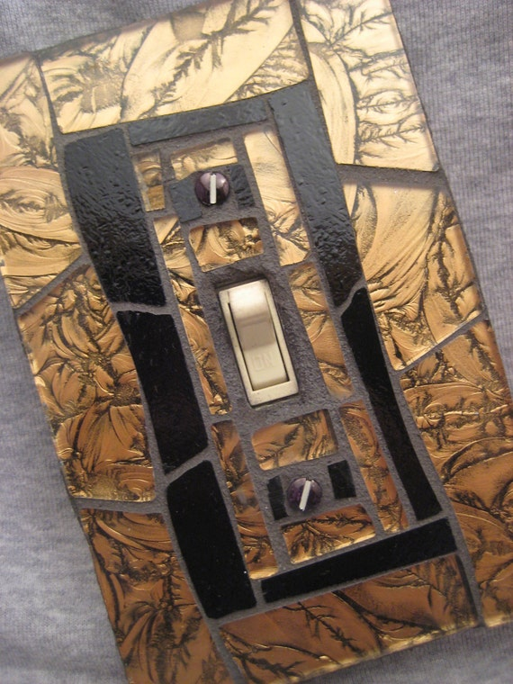 Switch Plate Cover-Mosaic Stained Glass--Bronze and Black