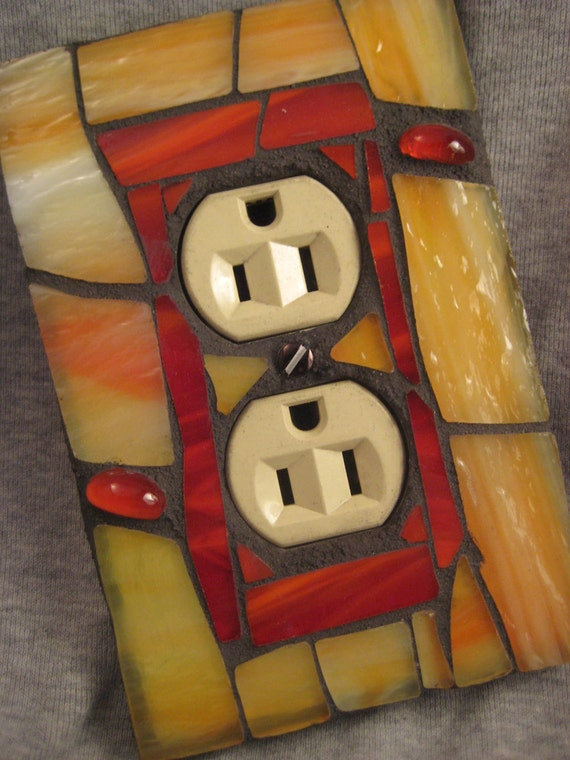 Outlet Cover-Stained Glass Mosaic-Yellow Orange and Red