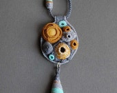 One of a kind crochet necklace - gray, mustard and aqua
