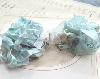 Hand Dyed Ribbon, Blue Sky, Scrunched, Crinkled Seam Binding