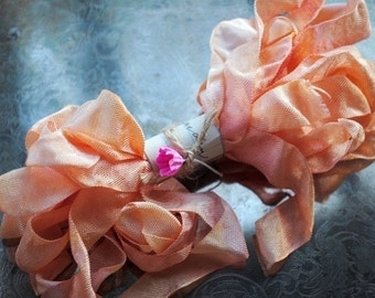 Hand Dyed Ribbon, Melon Mimosa, Scrunched, Crinkled, Seam Binding