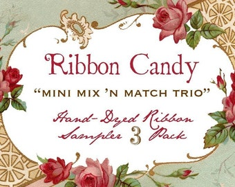 Hand Dyed Seam Binding Ribbon Candy Choose 3