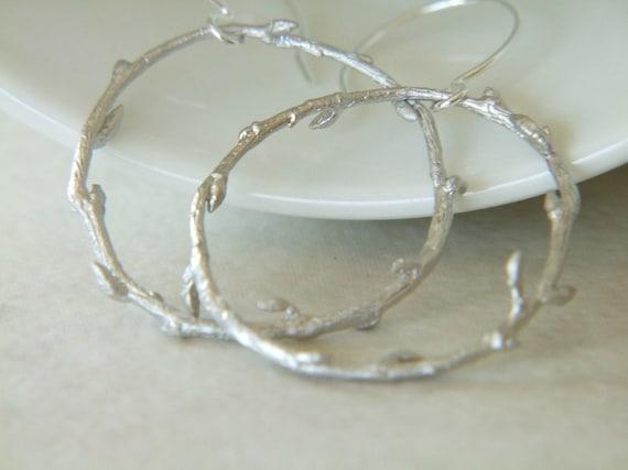 Matte Silver, Sterling Silver Earrings - Vine // A067