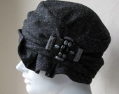 Flapper Cloche In Salt And Pepper Gray Wool