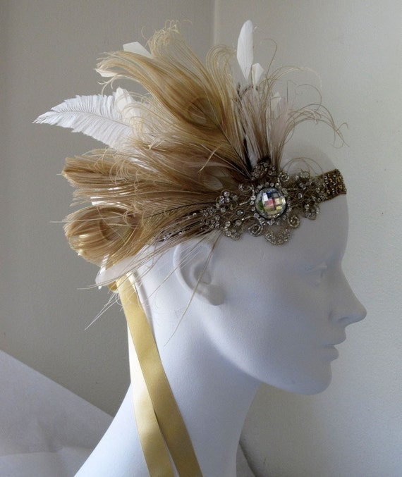 Kate Champagne Gold Peacock Feather Flapper  Headband