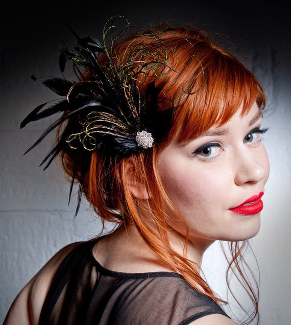 Belle Epoch Black And Green Feather Hair Clip Flapper Headpiece