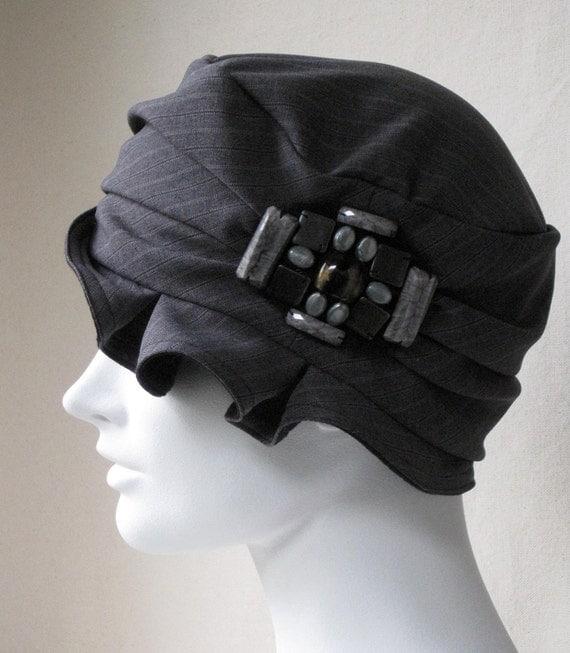 1920s Flapper Cloche Hat Gray Pinstripe Fabric Flapper Headpiece