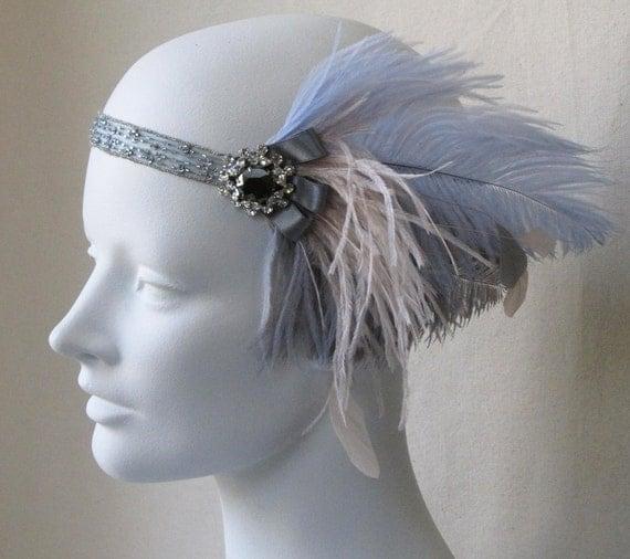 Powder Blue Romantic Flapper Feather Headband