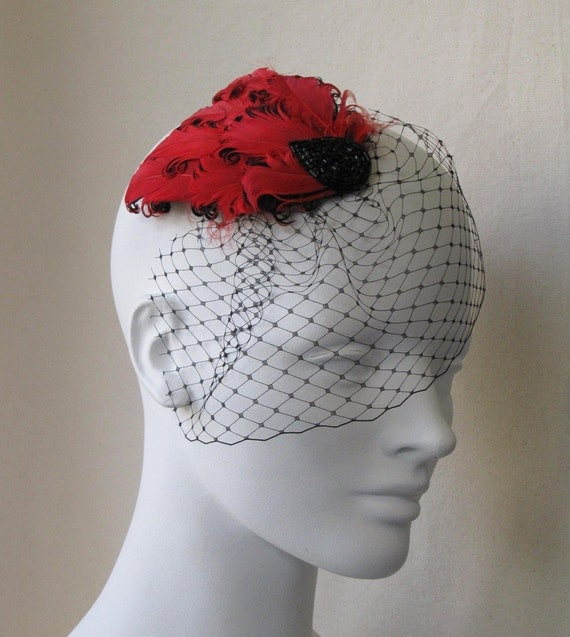 Red And Black Feather Hair Clip With Mini Veil
