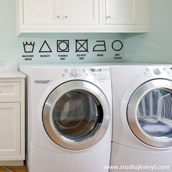 Laundry symbols - Vinyl Wall Decal Graphic Art Sticker Home Decor