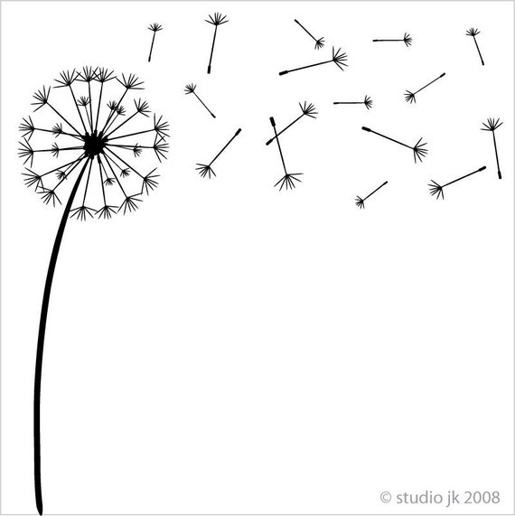 Dandelion wishes vinyl decal for Dandelion coloring page