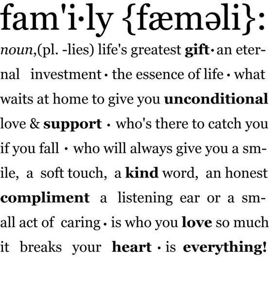 Family Definition - Vinyl Wall Decal Graphic Art Sticker Home Decor