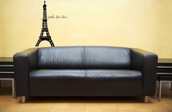 Small Eiffel Tower Wall Decor : Small ooh la eiffel tower vinyl wall decal graphic art