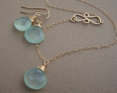 Chalcedony SET Infinity Hammered Pendant all GOLD FILLED bridal, wedding necklace, everyday jewelry