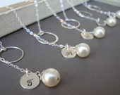 Silver Lariats SET of SIX  Dainty Bridal Personalized Lariat, Sterling Silver, Monogram, Swarovski Pearl, Elegant Wedding Jewelry