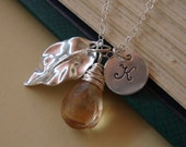 Leaf Necklace  Stone and Initial of your Choice  STERLING SILVER   Bridesmaids Bridal Party  Enchanted  Necklace