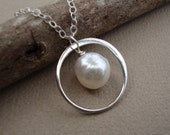 Pearl Necklace, Halo Necklace, Akoya Pearl Necklace on STERLING SILVER, Circle Pearl Necklace, Wedding Accessory, Bridesmaid Jewelry, Bridal