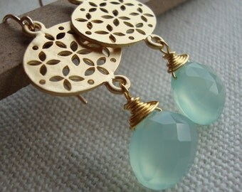 Gold Filled and Chalcedony Earrings Precious Sea Foam Chalcedony Briolette matte gold filigree dangles feminine dainty by lizix26