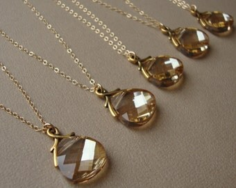 Bridal Necklaces Set of FIVE, gold filled, wedding gift, bridesmaids, Swarovski crystal pendants, bridal party, maid of honor