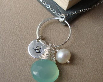Personalized Necklace with Unique Aqua Teal Chalcedony - All STERLING SILVER- Bridal party, Wedding, Hand Stamped Initial, Bridesmaids