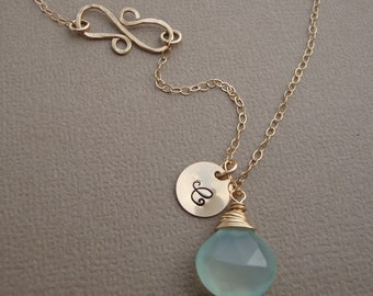 Personalized Chalcedony Necklace and Infinity Hammered Pendant all GOLD FILLED bridal, wedding necklace, everyday jewelry