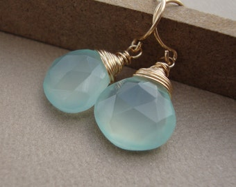 Aqua Chalcedony Earrings wire wrapped on gold filled stone earrings elegant chic 14kt gold everyday earrings
