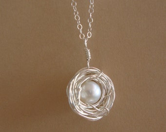 Sterling silver Bird Nest Necklace - Boy or Girl - white fresh water pearl, lovely gift, mom to be, sister, friend  by lizix26