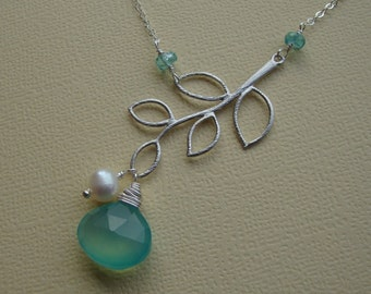 Silver Branch Necklace & Aqua Chalcedony, Stone Necklace, Branch Charm Necklace, Branch Pendant Necklace, Sterling Silver, Pearl Necklace