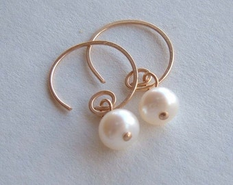 Gold Hoops, Pearl Hoops, Tiny Handmade Gold Filled Hoops, Tiny Dangles in Gold, Everyday Simple Earrings