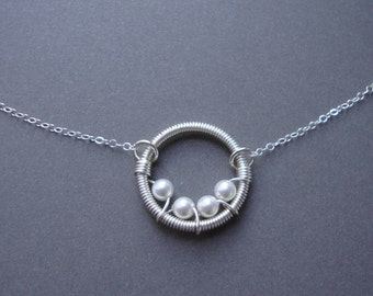 All My Children-Add Your Own - Wire Wrapped Circle Necklace-Mommy and Me- My Family, Mother, Sister, Great Gift